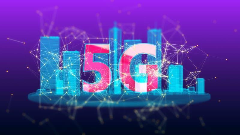 boucle visuelle de système sans fil rapide du réseau 5G images libres de droits