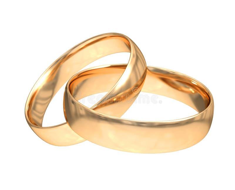 Boucles d'or de mariage sur le blanc image libre de droits