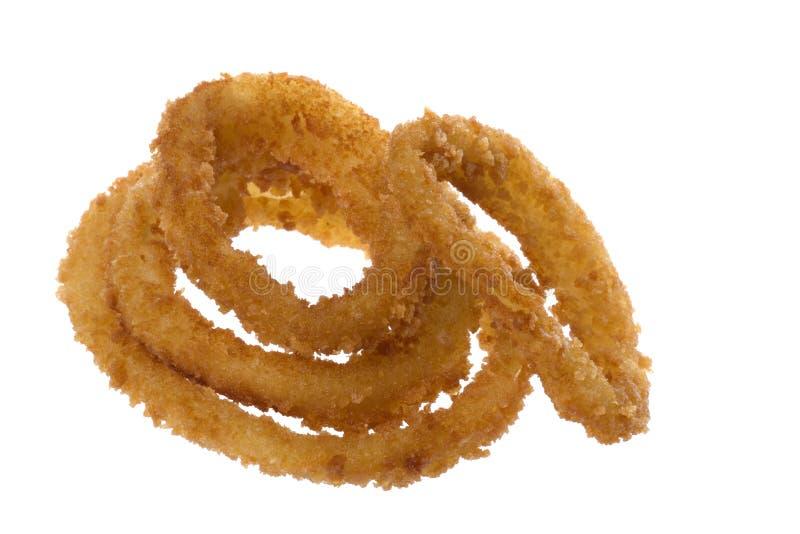 Boucles d'oignon frites d'isolement image libre de droits