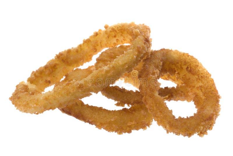 Boucles d'oignon frites d'isolement photos stock