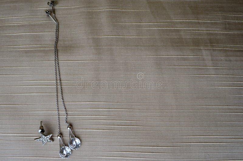 Boucles d'oreille argentées avec des diamants, pierres précieuses, fausses pierres image stock