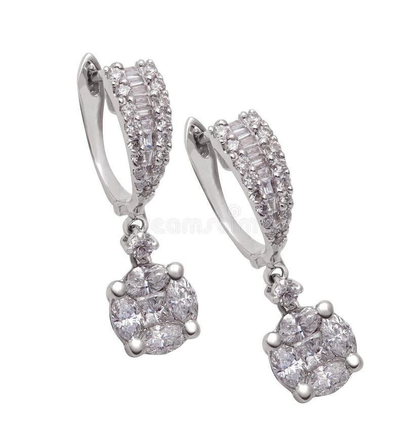 Boucles d'oreille de diamant photos libres de droits