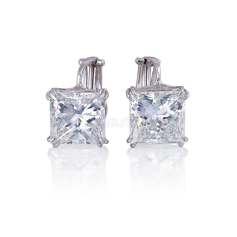 Boucles d'oreille de diamant. photographie stock libre de droits