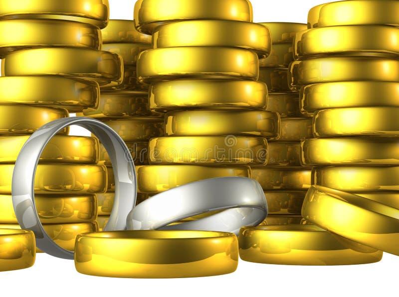 Boucles de mariage d'argent et d'or. illustration stock