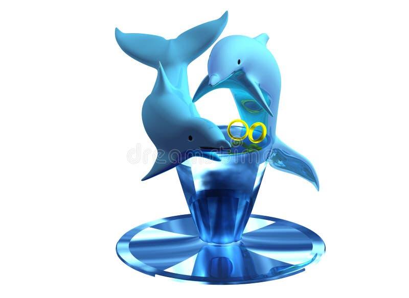 Boucles de mariage de dauphin 02 illustration libre de droits