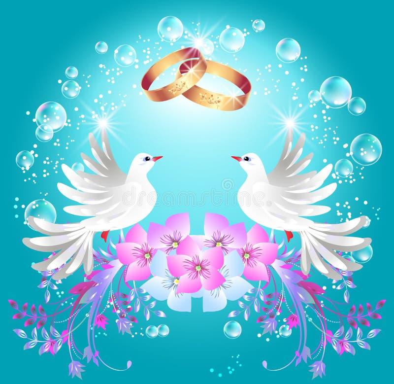 Boucles de mariage et deux colombes illustration de vecteur