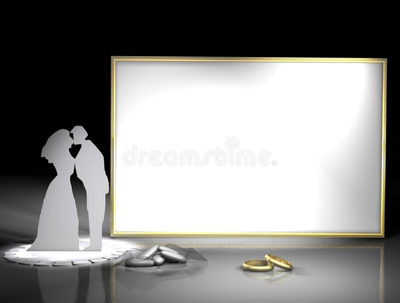 Boucles de mariage et trame de photo illustration libre de droits