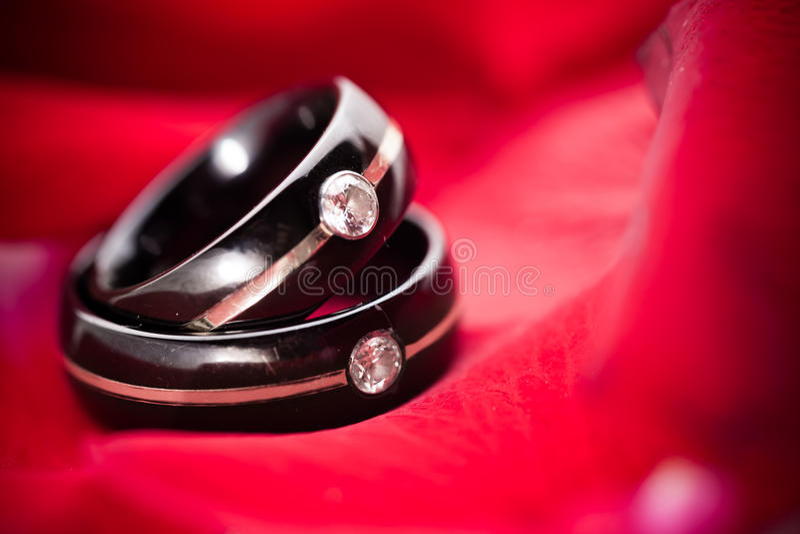 Boucles de mariage foncées sur les pétales rouges photo libre de droits
