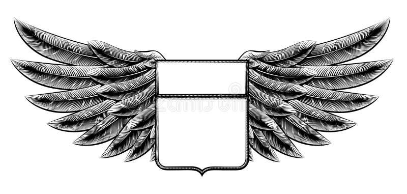 Bouclier à ailes par gravure sur bois de vintage illustration stock