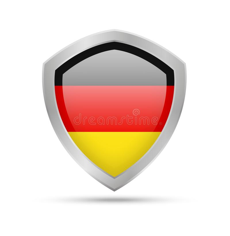 Bouclier avec le drapeau de l'Allemagne sur le fond blanc illustration libre de droits