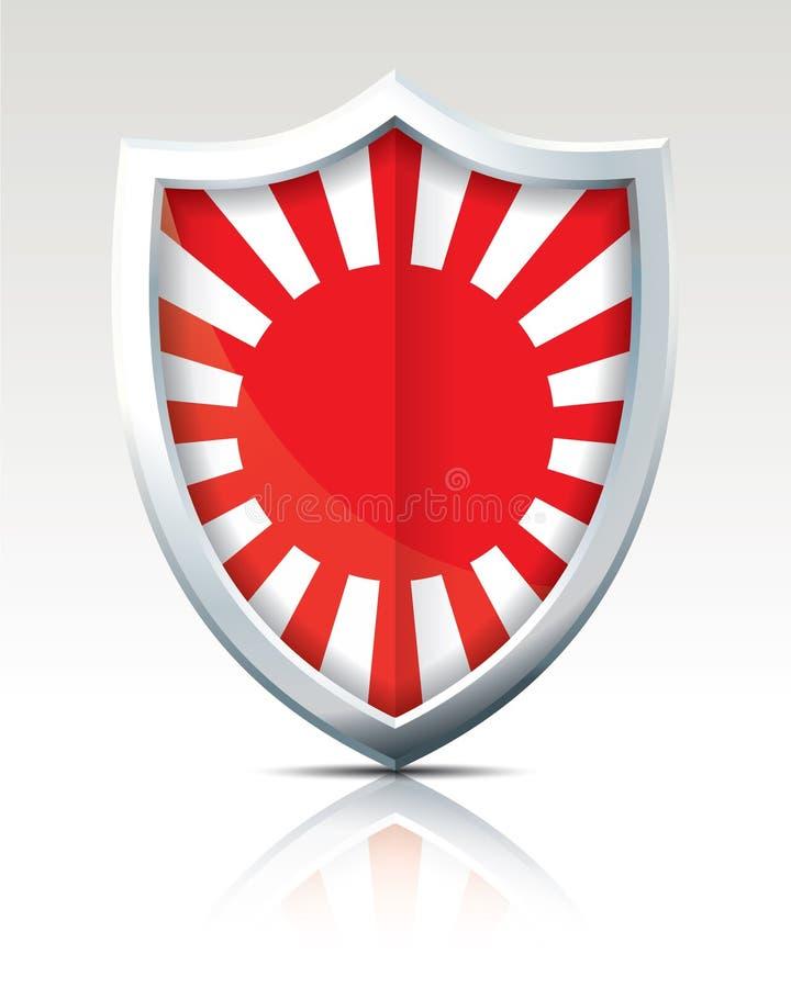 Bouclier avec le drapeau de la guerre japonaise illustration stock