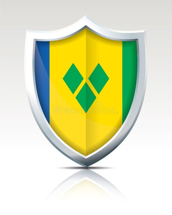 Bouclier avec le drapeau de Saint Vincent et de grenadines illustration stock