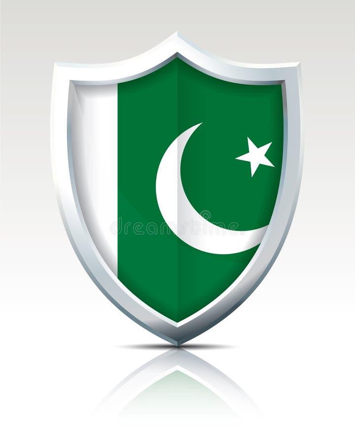Bouclier avec le drapeau du Pakistan illustration libre de droits