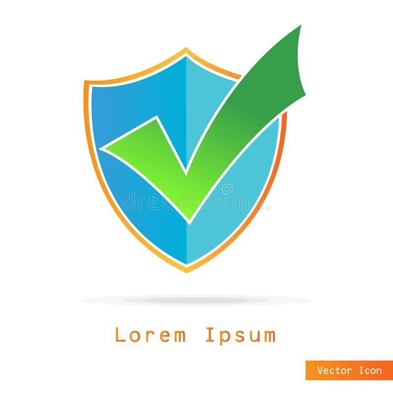 Bouclier avec le logo d'insigne de coche, icône de concept de sécurité Illustration de vecteur illustration de vecteur