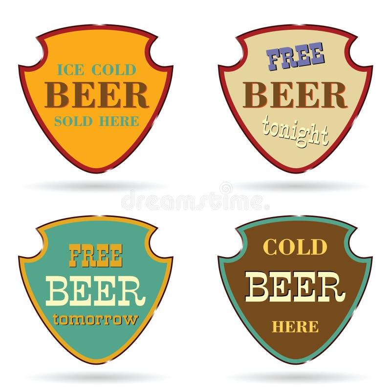 Bouclier avec le message publicitaire de bière illustration libre de droits
