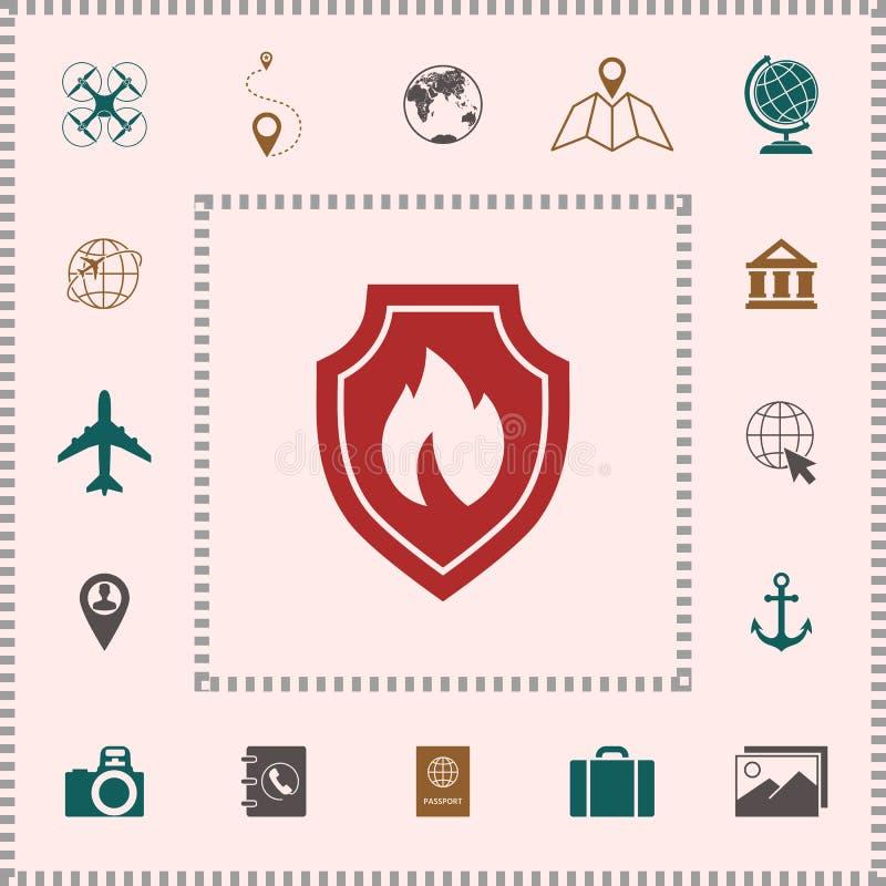 Bouclier avec le signe du feu - icône de protection Éléments pour votre conception illustration stock