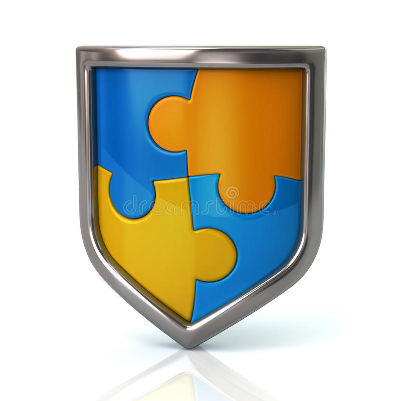 Bouclier avec les morceaux bleus et jaunes de puzzle illustration stock
