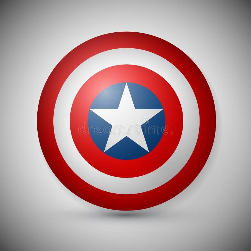 Bouclier avec une étoile, bouclier de super héros, bouclier de bandes dessinées illustration libre de droits
