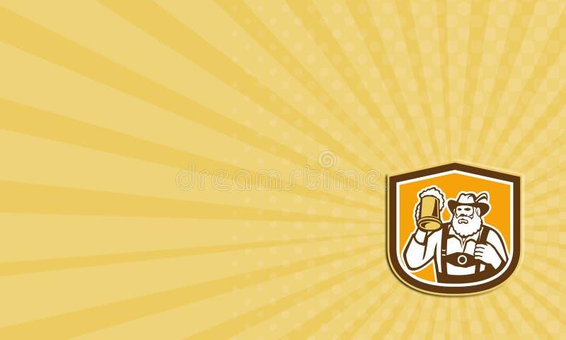 Bouclier bavarois de tasse de buveur de bière de carte de visite professionnelle de visite rétro illustration stock