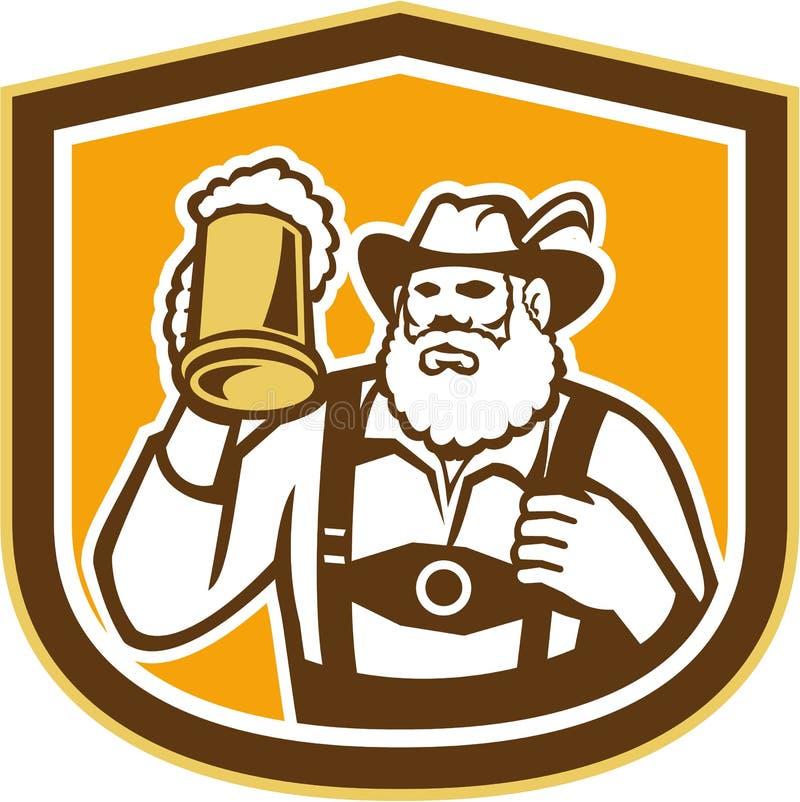 Bouclier bavarois de tasse de buveur de bière rétro illustration libre de droits