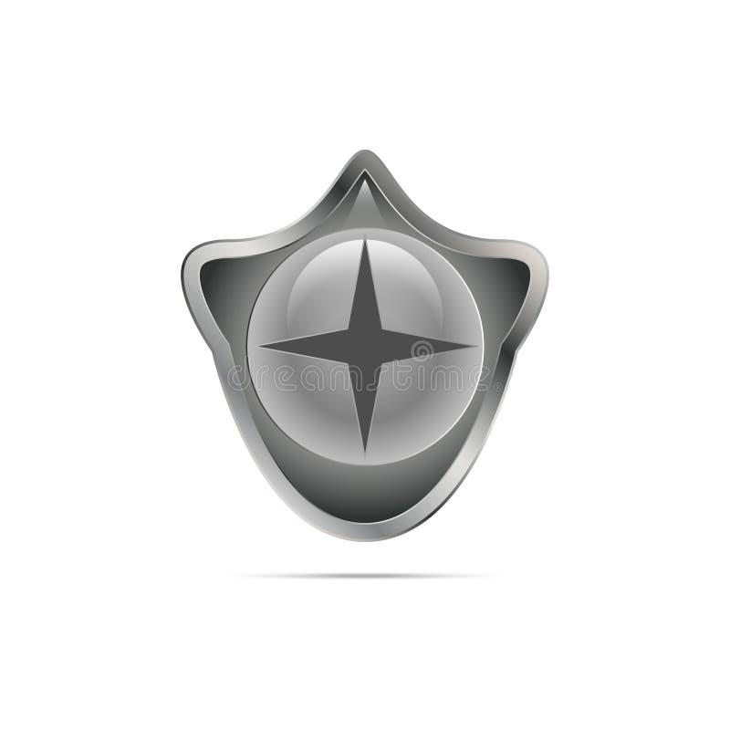 Bouclier brillant gris avec un symbole illustration stock