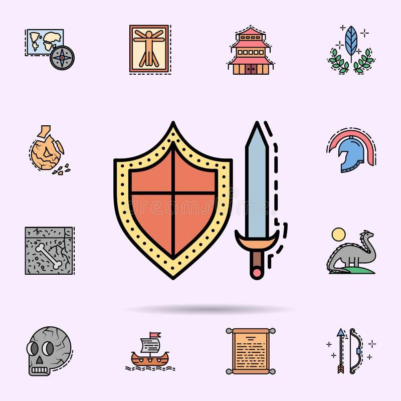 bouclier, combat, lame, ?p?es, ic?ne d'armes Ensemble universel d'histoire pour la conception de site Web et le d?veloppement, d? illustration de vecteur