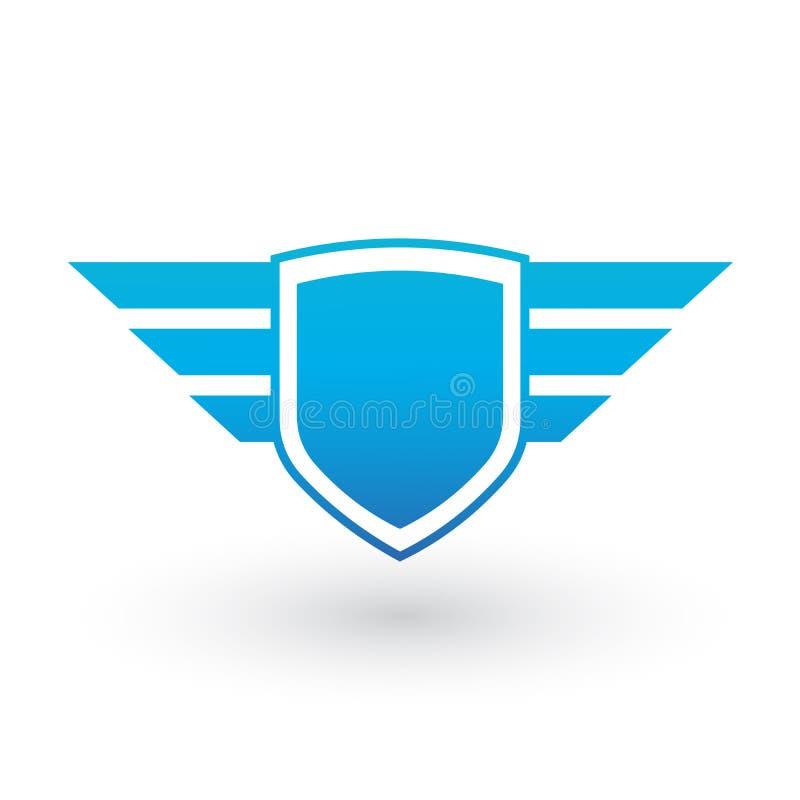 bouclier créatif abstrait et conception bleue de logo d'ailes pour des affaires Illustration de vecteur d'isolement sur le fond b illustration libre de droits