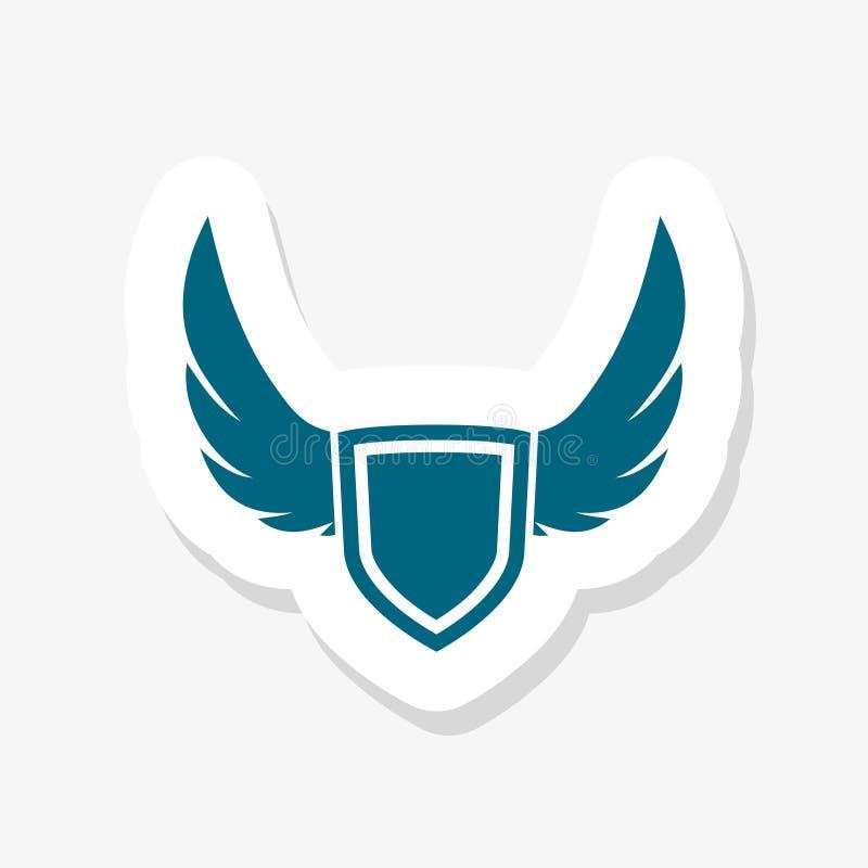 bouclier cr?atif abstrait et conception bleue de logo d'ailes pour des affaires illustration de vecteur
