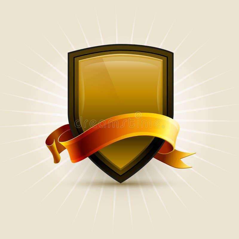 Bouclier d'or illustration libre de droits