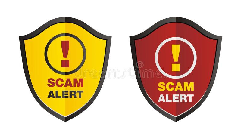 Bouclier d'alerte de Scam illustration stock
