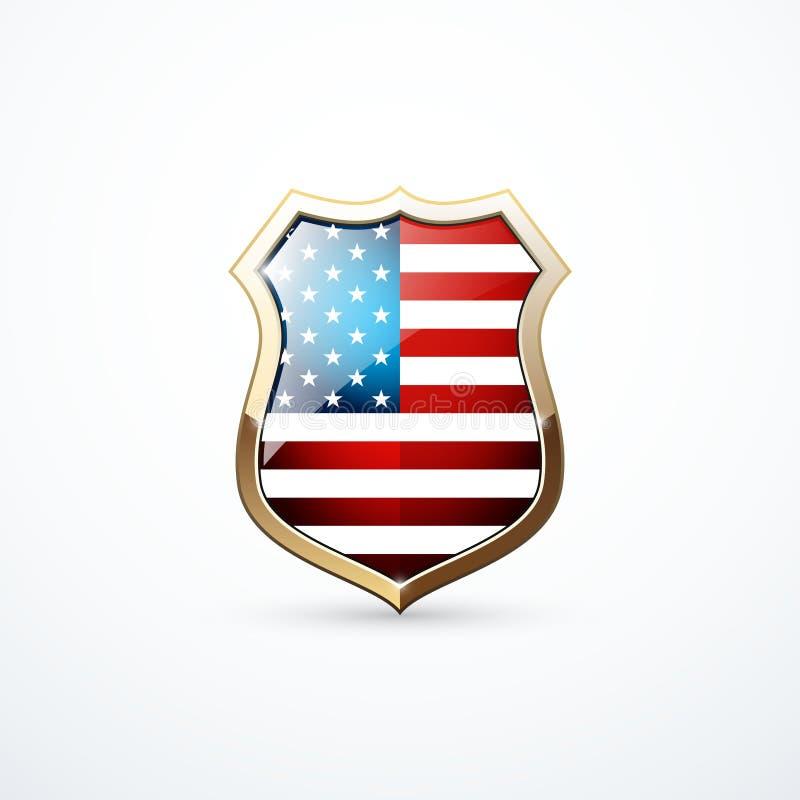 Bouclier d'or avec des éléments de drapeau des Etats-Unis Icône de bouclier des Etats-Unis Illustration de vecteur illustration stock
