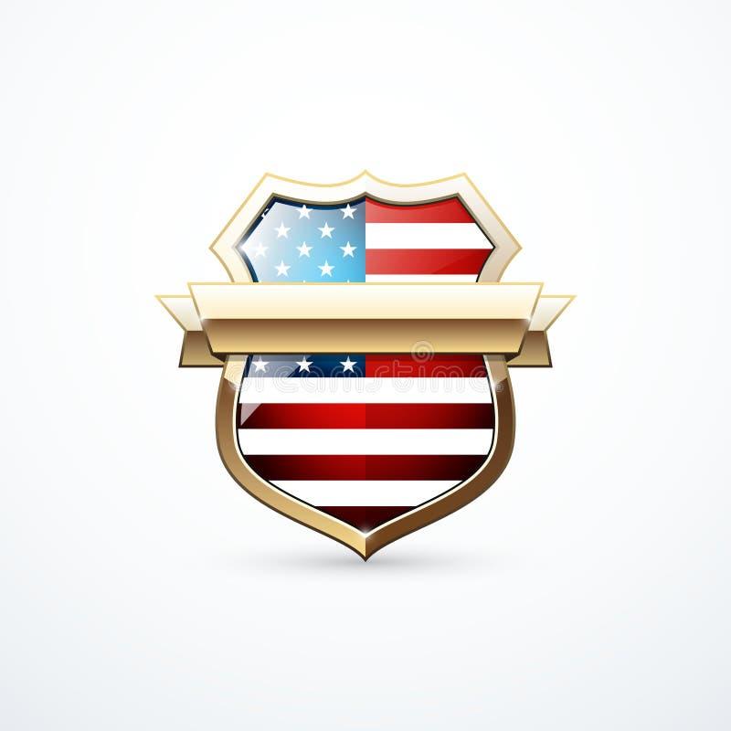 Bouclier d'or avec des éléments de drapeau des Etats-Unis Icône de bouclier des Etats-Unis Illustration de vecteur illustration libre de droits