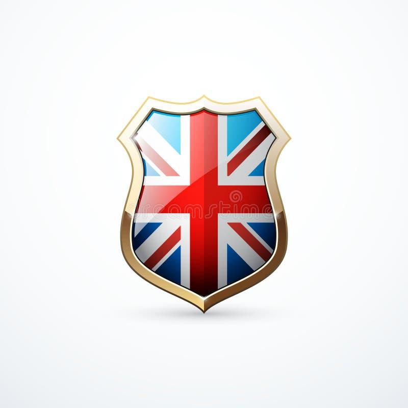 Bouclier d'or avec des éléments de drapeau de la Grande-Bretagne Icône de bouclier de la Grande-Bretagne Illustration de vecteur illustration de vecteur