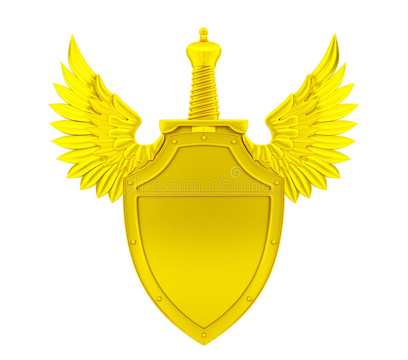 Bouclier d'or avec les ailes et l'épée images stock