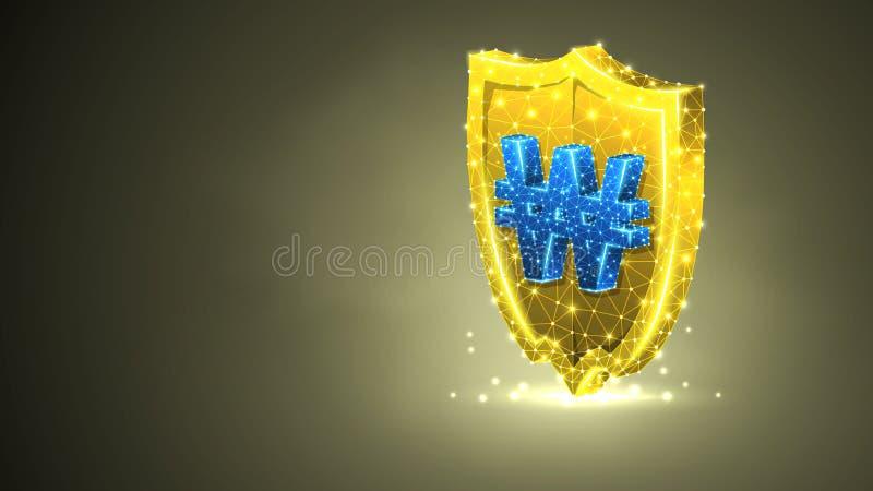 Bouclier d'or de sécurité avec le symbole monétaire gagné sud-coréen Concept polygonal de la sécurité, protection d'argent R?sum? illustration de vecteur
