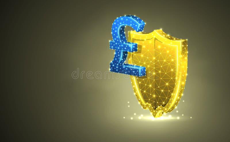 Bouclier d'or de sécurité avec le symbole monétaire de livre britannique, illustration 3d colorée abstraite Affaires polygona illustration libre de droits