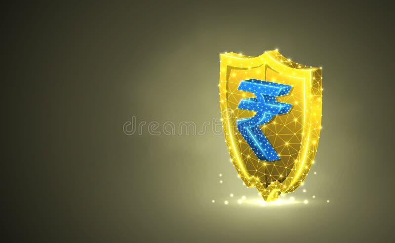 Bouclier d'or de sécurité avec le symbole monétaire de roupie indienne, illustration 3d colorée abstraite Affaires polygonale illustration libre de droits