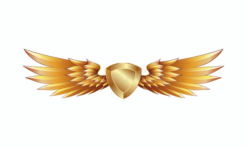 Bouclier d'or héraldique avec l'emblème d'ailes illustration libre de droits