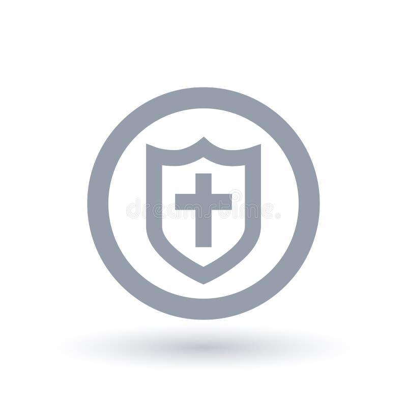 Bouclier d'icône de salut Armure de symbole de Dieu illustration libre de droits