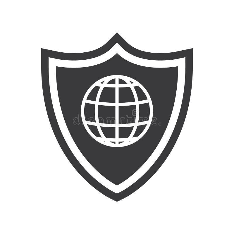 Bouclier d'illustration de vecteur et icône noire d'isolement par globe illustration stock