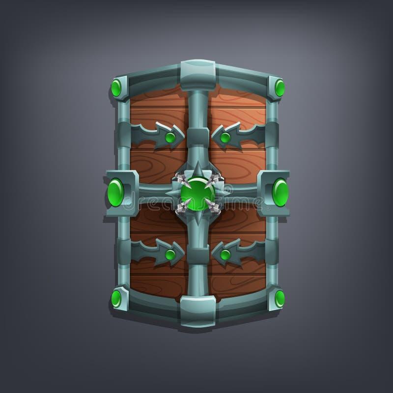 Bouclier d'imagination de fer pour le jeu ou les cartes illustration de vecteur