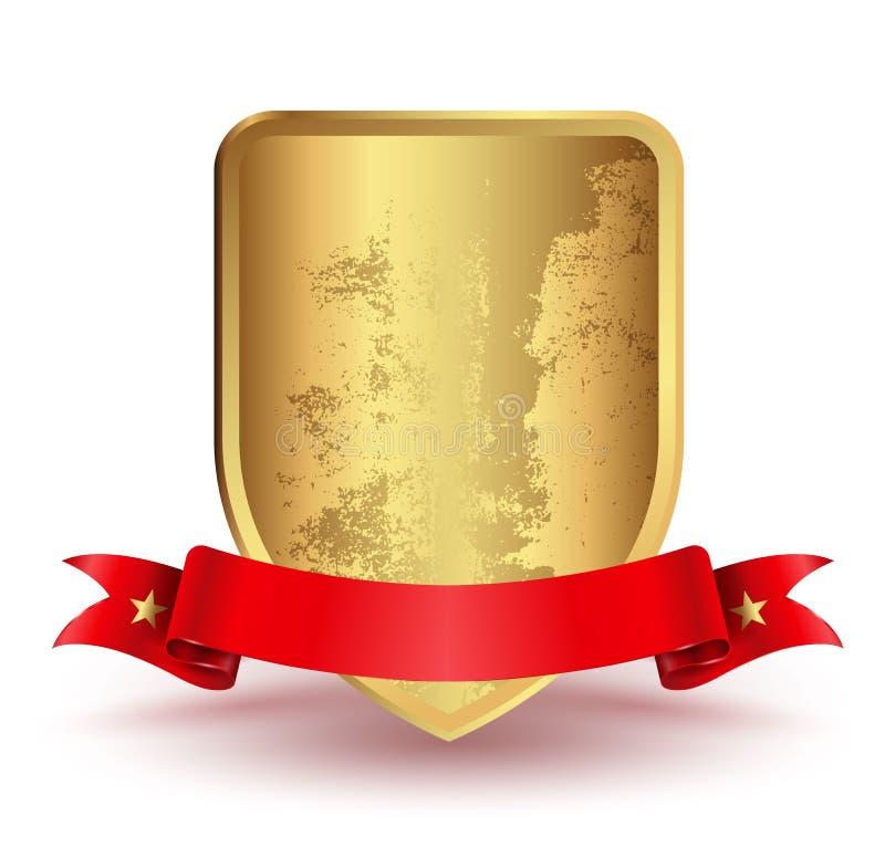 Bouclier d'insigne avec le ruban rouge illustration stock