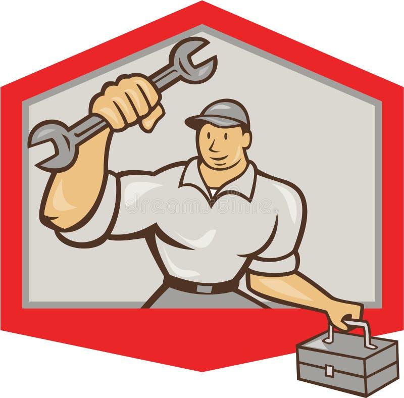 Bouclier de boîte à outils de Hold Spanner Wrench de mécanicien illustration stock