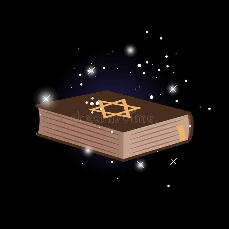 Bouclier de David sur le livre illustration de vecteur