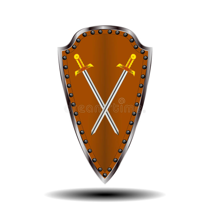Bouclier de logo et épée de couleur brun clair images libres de droits