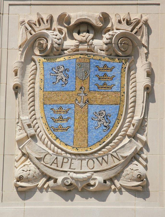 Bouclier de mosaïque de ville portuaire renommée Cape Town à la façade des lignes Pacifiques construction des Etats-Unis Ligne-Pa photo libre de droits