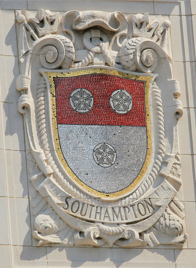 Bouclier de mosaïque de ville portuaire renommée Hampton du sud à la façade des lignes Pacifiques construction des Etats-Unis Lig photos libres de droits