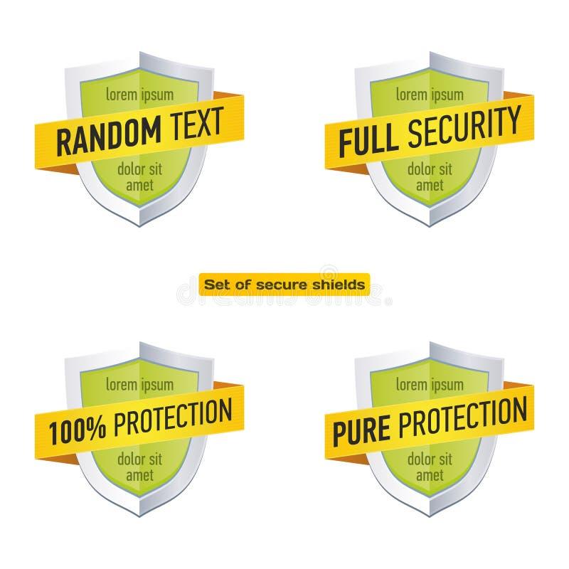 Bouclier de protection avec le ruban Icône de label de sécurité Calibres d'insigne de vecteur réglés illustration de vecteur