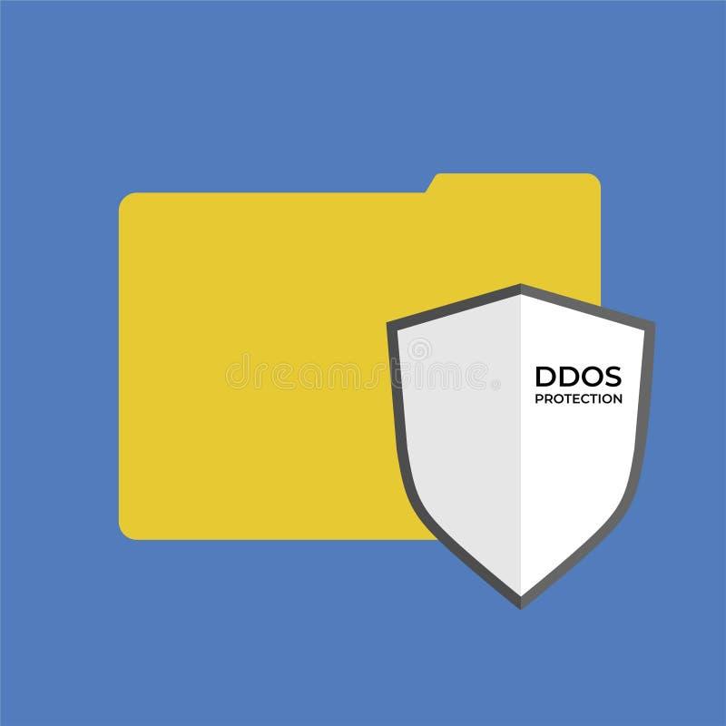 Bouclier de protection de DDoS sur le dossier illustration stock