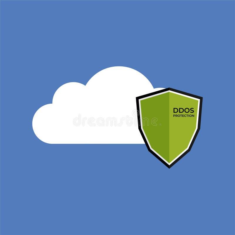 Bouclier de protection de DDoS sur le dossier illustration de vecteur